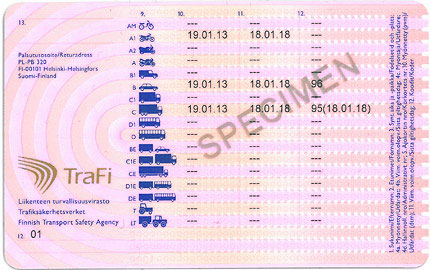 Finnish driver s licence back